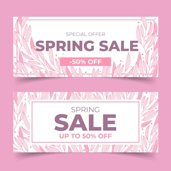 Tema de banners de venda de primavera de design plano