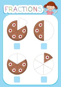 Tema de bolo de planilha de frações de matemática
