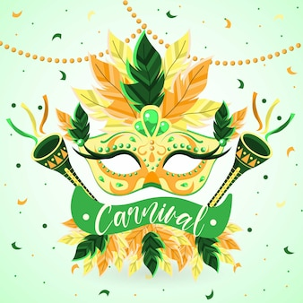 Tema de carnaval brasileiro de design plano com máscara artística