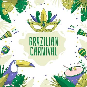 Tema de carnaval brasileiro desenhado à mão