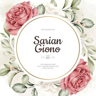 Tema de cartão de casamento de grinalda de flores botânicas elegância