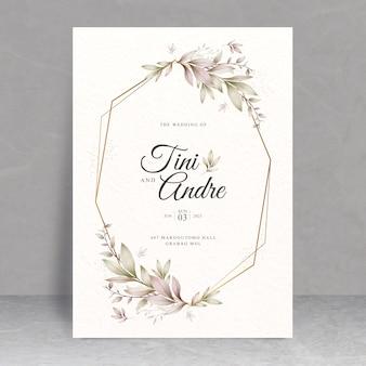 Tema de cartão de casamento elegante com folhas em aquarela