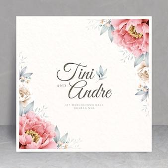 Tema de cartão de casamento elegante moldura floral