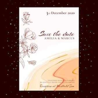 Tema de cartão de casamento floral