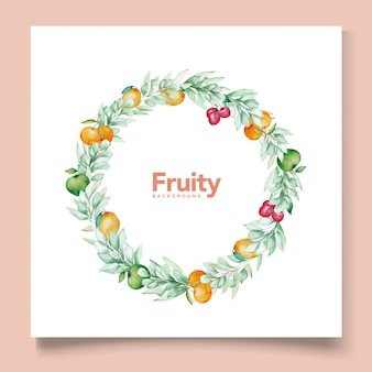 Tema de cartão de fundo de frutas em aquarela