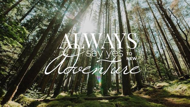 Tema de citação positiva de aventura