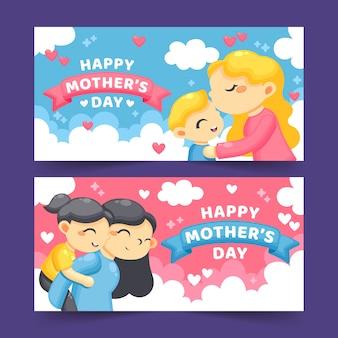 Tema de coleção de banner de dia das mães