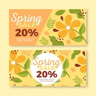 Tema de coleção de banner de venda primavera