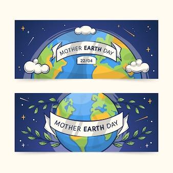 Tema de coleção de banner dia da mãe terra desenhados à mão