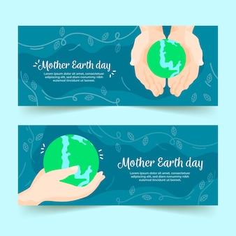 Tema de coleção de banner do dia da mãe terra