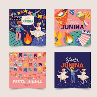 Tema de coleção de cartão de festa junina