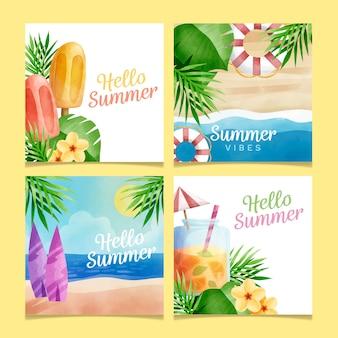 Tema de coleção de cartão de verão aquarela