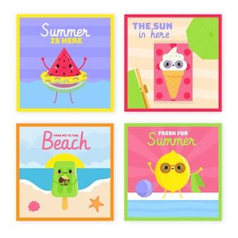 Tema de coleção de cartão de verão desenhados à mão