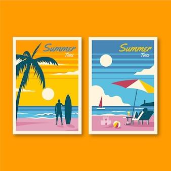 Tema de coleção de cartões de verão