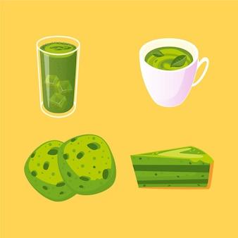 Tema de coleção de chá matcha