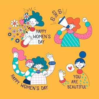Tema de coleção de distintivo de dia das mulheres