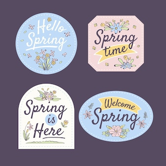 Tema de coleção de distintivo de primavera desenhados à mão