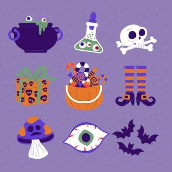 Tema de coleção de elementos de halloween