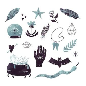 Tema de coleção de elementos esotéricos