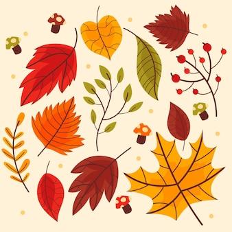 Tema de coleção de folhas de outono