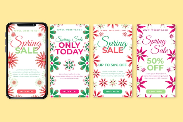 Tema de coleção de histórias do instagram de venda de primavera