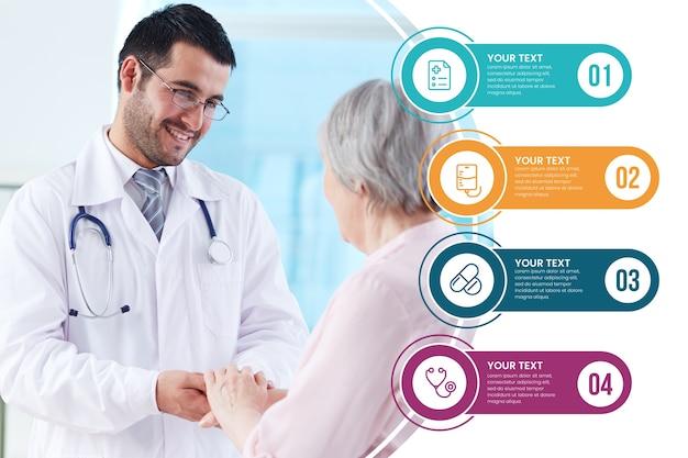 Tema de coleção de infográfico médica