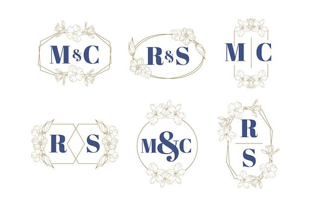 Tema de coleção de logotipo de casamento floral