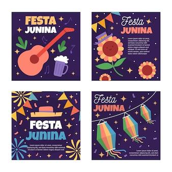 Tema de coleção de modelo de cartão de festa junina