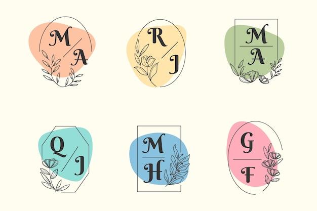 Tema de coleção de monograma de casamento colorido