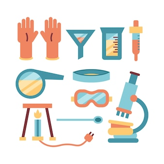 Tema de coleção de objetos de laboratório de ciências