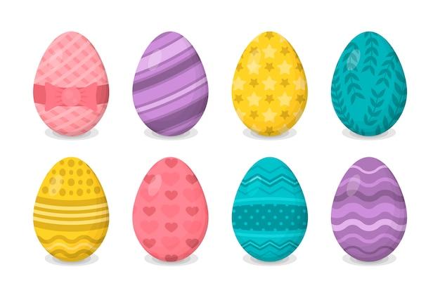 Tema de coleção de ovo de dia de páscoa de design plano