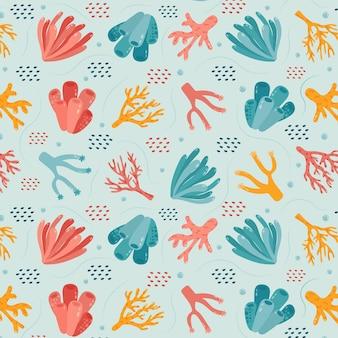 Tema de coleção de padrão coral