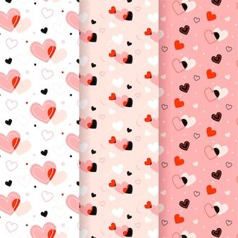 Tema de coleção de padrão de coração