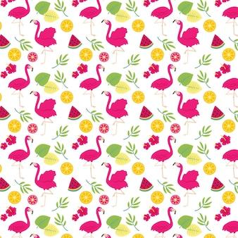 Tema de coleção de padrão de flamingo