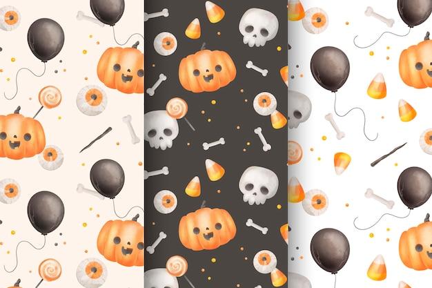Tema de coleção de padrão de halloween em aquarela