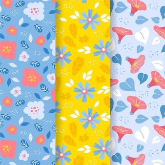 Tema de coleção de padrão de primavera de design plano