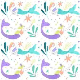 Tema de coleção de padrão de sereia
