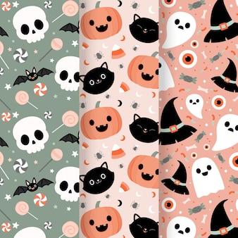 Tema de coleção de padrões de halloween