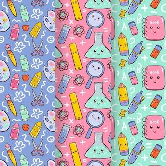 Tema de coleção de padrões de volta à escola