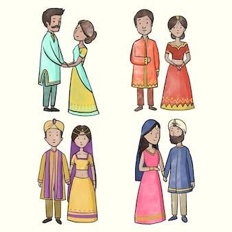 Tema de coleção de personagens de casamento indiano