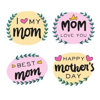 Tema de coleção de rótulo de dia das mães