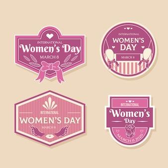 Tema de coleção de rótulo de dia das mulheres vintage