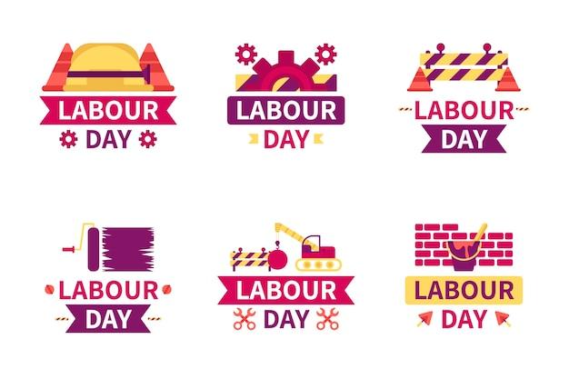 Tema de coleção de rótulo de dia do trabalho