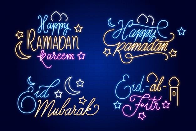 Tema de coleção de sinal de néon de letras ramadan