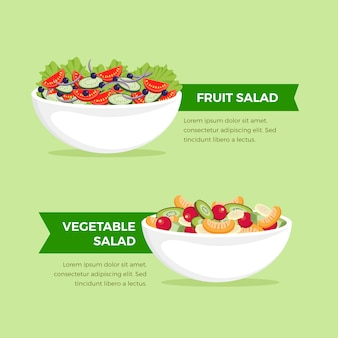 Tema de coleção de taças e saladas