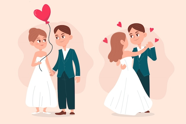 Tema de coleção ilustrado de casal de noivos