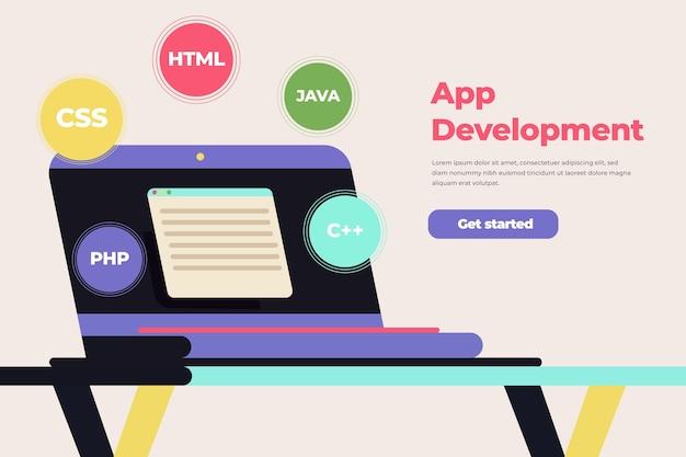 Tema de conceito de desenvolvimento de aplicativo