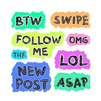 Tema de conjunto de bolha de gíria de mídia social