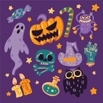 Tema de conjunto de elementos de halloween