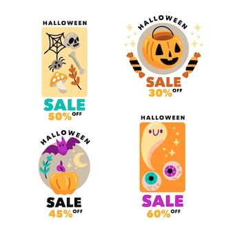 Tema de conjunto de rótulo de venda de halloween